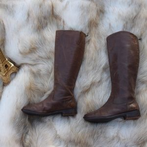 LUXURY REBEL Brown Leather Knee High Riding Boots